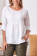 Valeria Pure Linen Top In White
