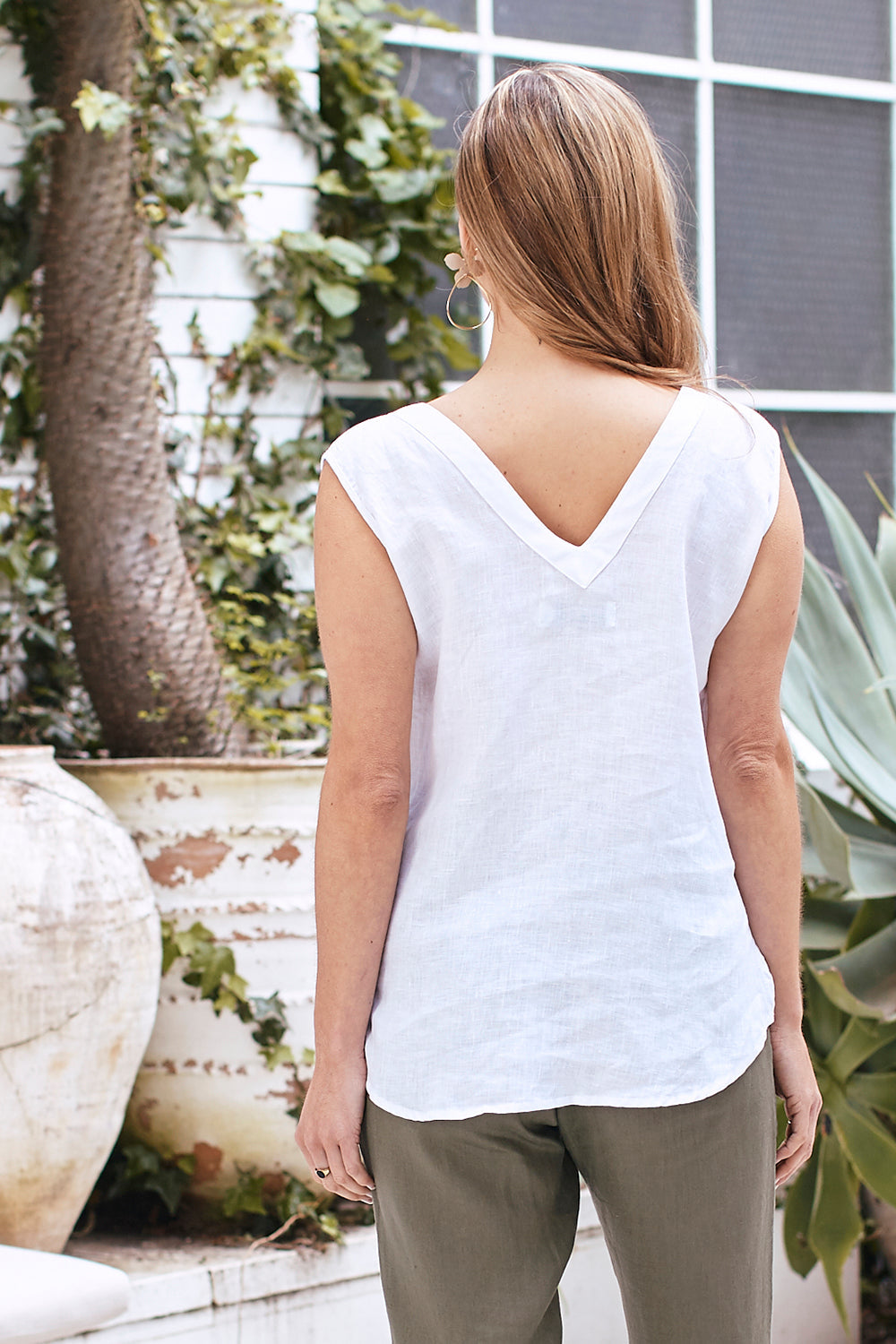 Vittoria Linen Sleeveless Top White