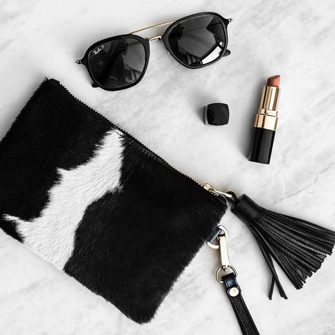 Mini Masai Mara Clutch in Black and White Cowhide