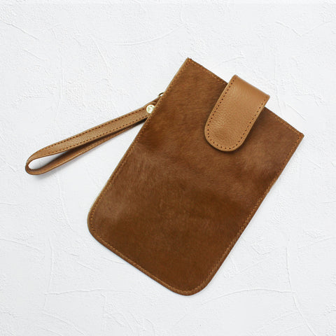 XL Mobile Phone Holder in All Tan Cowhide