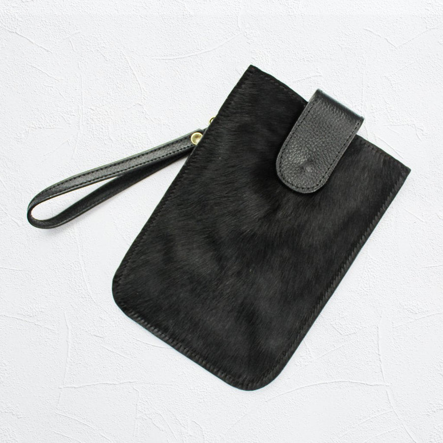 XL Mobile Phone Holder All Black Cowhide