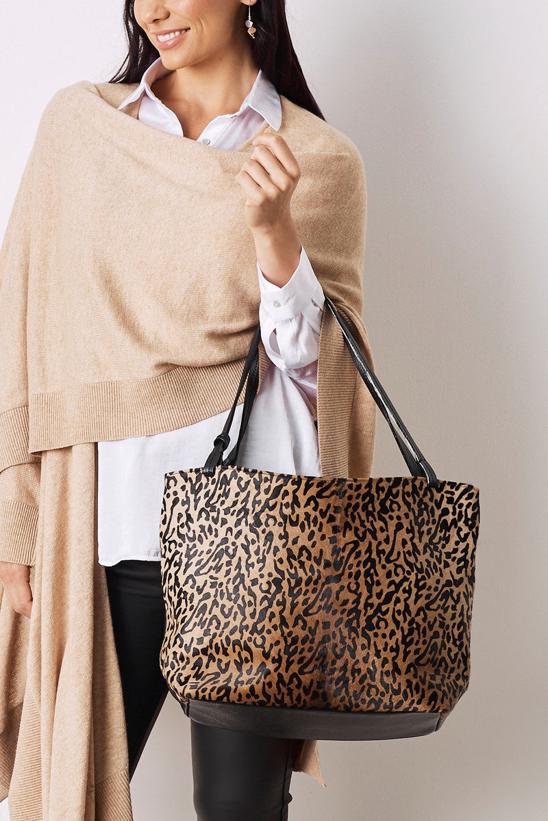Nora Leather Handbag Leopard Cowhide