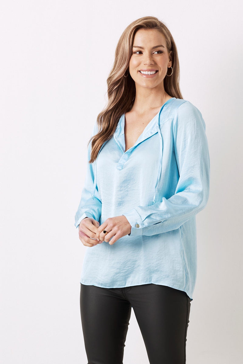 Florencia Long Sleeve Top Sky Blue