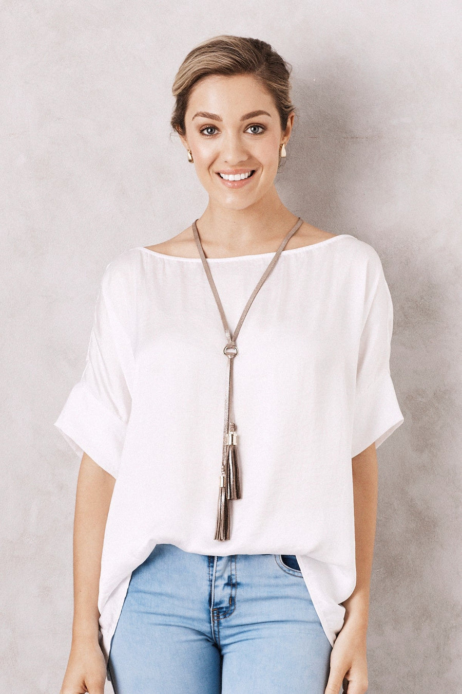 Double Tassel Leather Necklace Silver