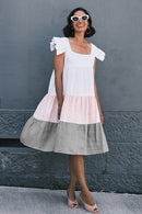 Alicia Pure Linen Ruffle Sleeve Dress Stripe Grey