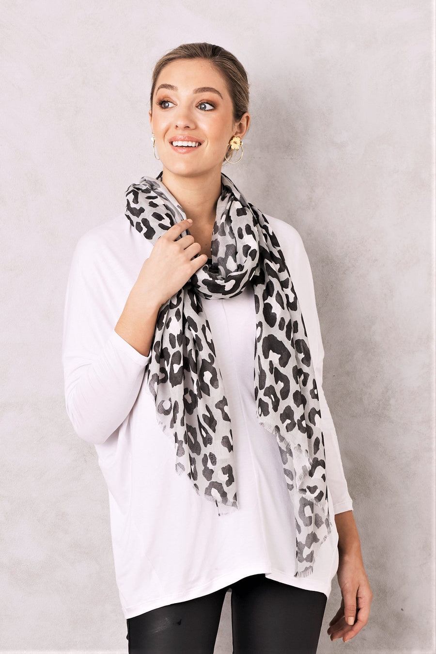 Animal Print Scarf Modal Grey