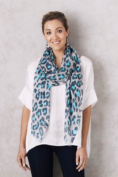 Animal Print Scarf Blue