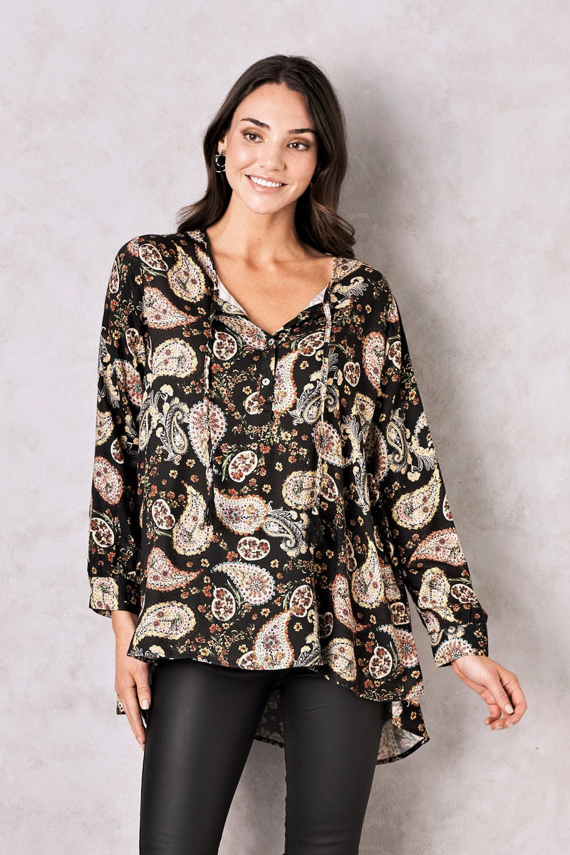 Gisele Paisley Long Sleeve Top in Black