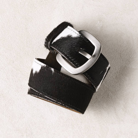 Black and White Cowhide Belt