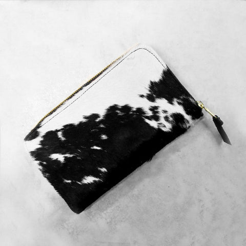 Zipper Wallet in Black and White Cowhide