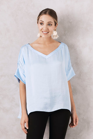 Bianca Top Blue with V Neck