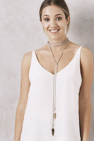 Feather Bolo necklace Grey