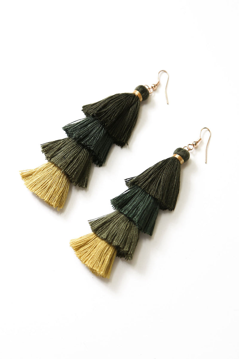 Camilla Earrings Olive Green