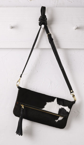 Carolina Clutch Black and White Cowhide