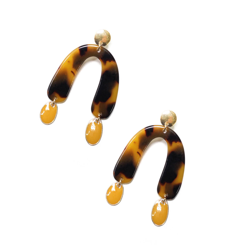 Lovina Resin Earrings Mustard