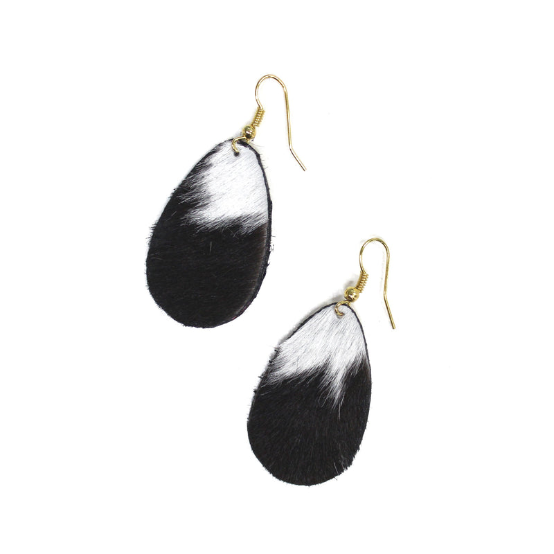 Anika Leather Earrings Black and White Cowhide