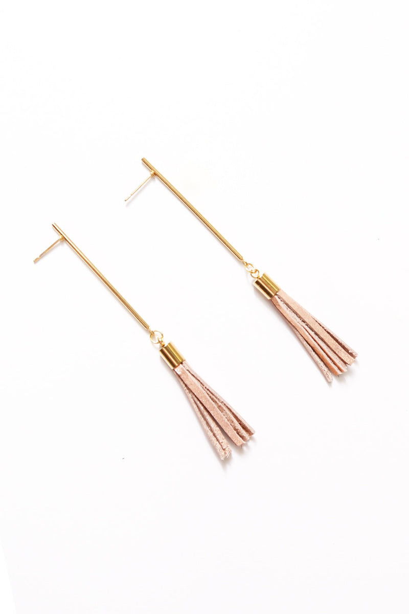 Eve Leather Tassel Earrings Rose Gold Metallic