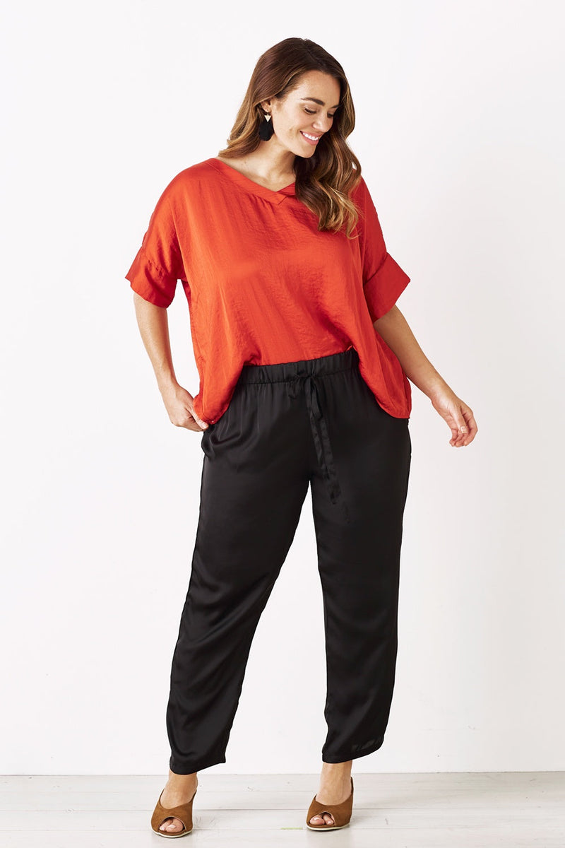 Bianca Short Sleeve Top Terracotta with V Neck