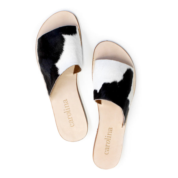 Black and white cowhide Slides