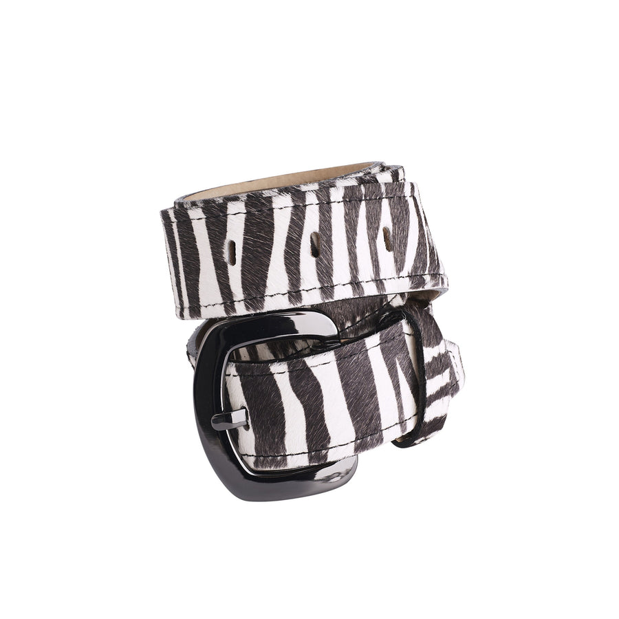 Jeans Belt Black and White Zebra