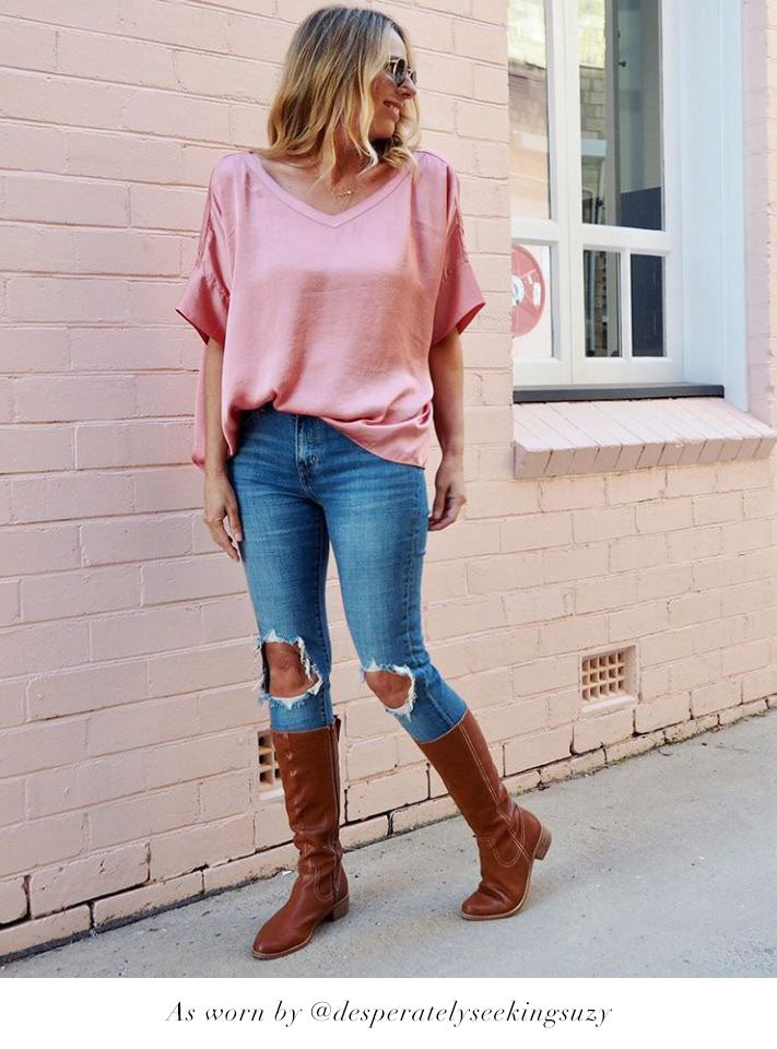Bianca Top Rose with V Neck