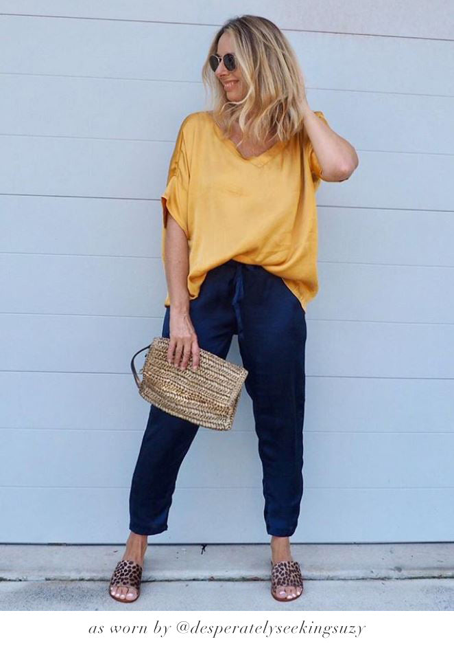 Bianca Top Mustard with V Neck