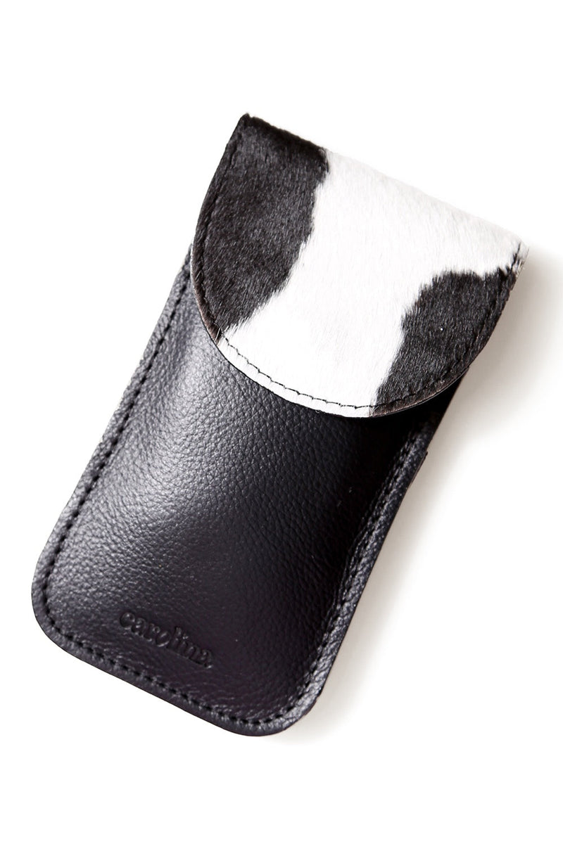 Sunglasses Case Black and White Cowhide