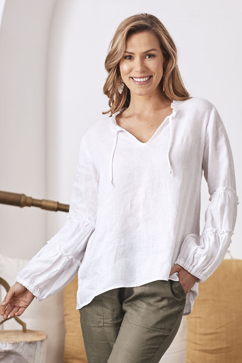 Pure Linen Long Sleeve Ruffle Top White