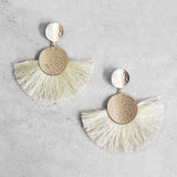 Elora Tassel Earrings in Beige