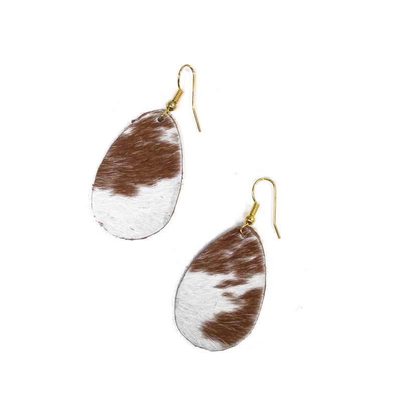 Anika Leather Earrings Tan and White Cowhide