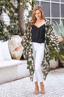 Hayman Animal Print Silk Cape Olive with Blush - Plus Size