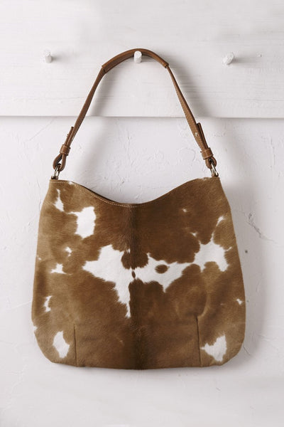 Hobo Bag Tan and White Cowhide
