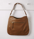 Hobo Leather HandBag Tan and White Cowhide