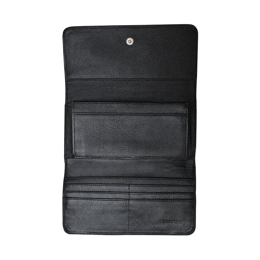 XL Foldover Wallet Black and White Cowhide