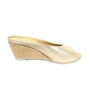 Ivanna Leather Espadrille Wedges Light Gold