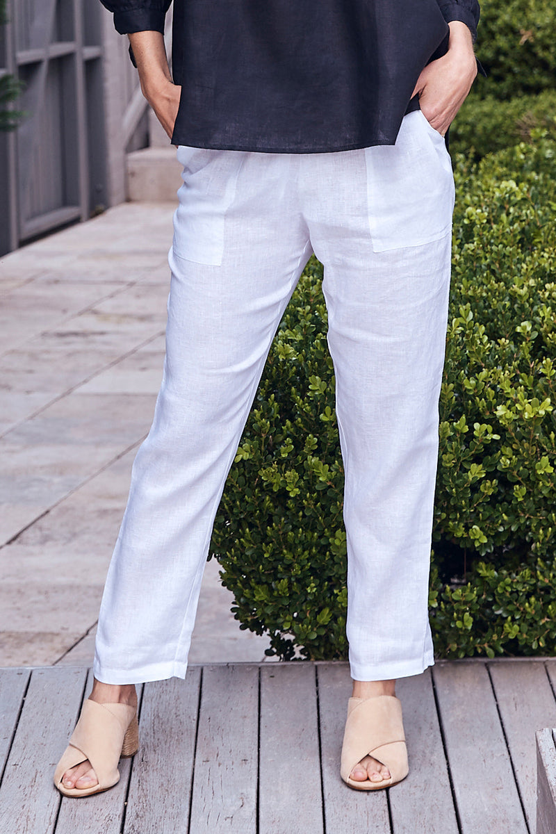 Pure Linen Pants in White