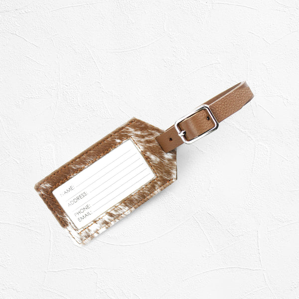 Luggage Tag Tan and white Cowhides