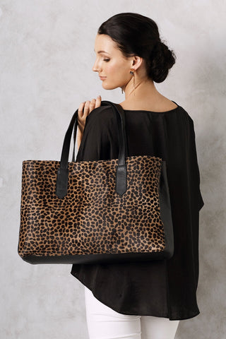 Madagascar Leather Handbag Giraffe Cowhide
