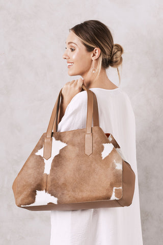 Madagascar Leather Handbag Tan and White Cowhide