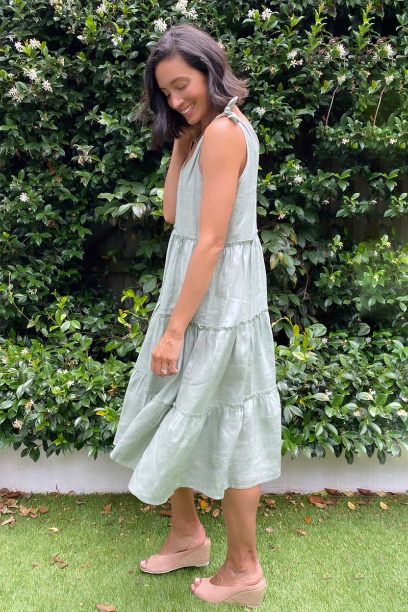 Mariana Pure Linen Sundress in Aloe
