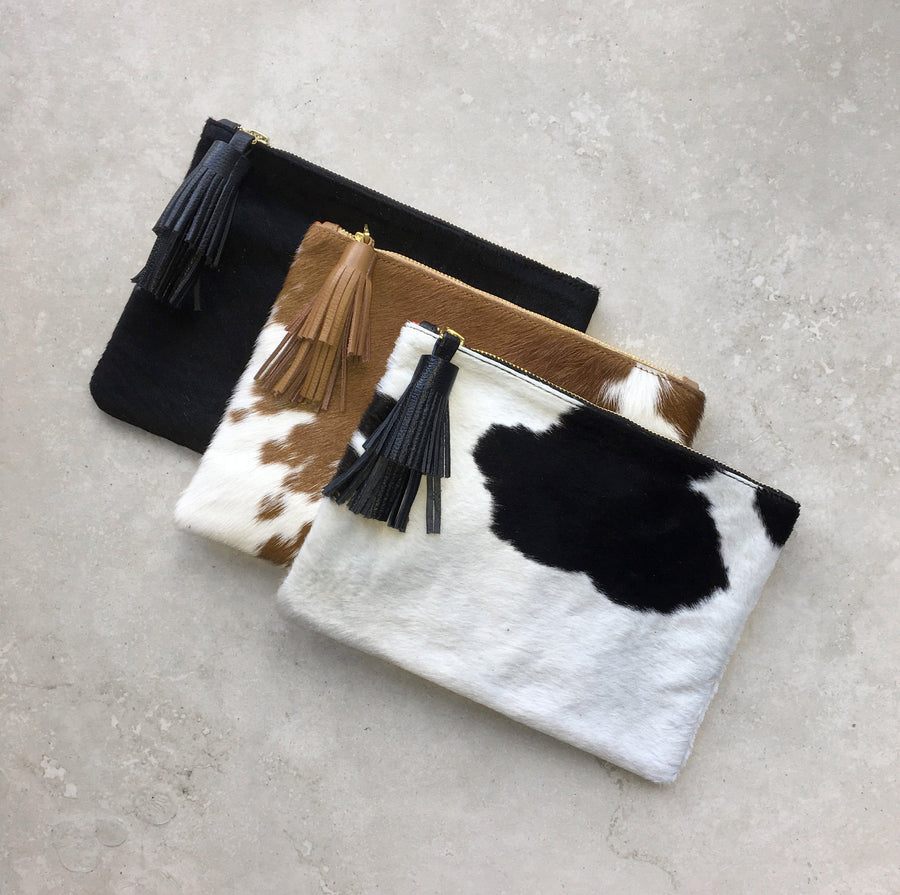 Masai Mara Clutch Black & White Cowhide
