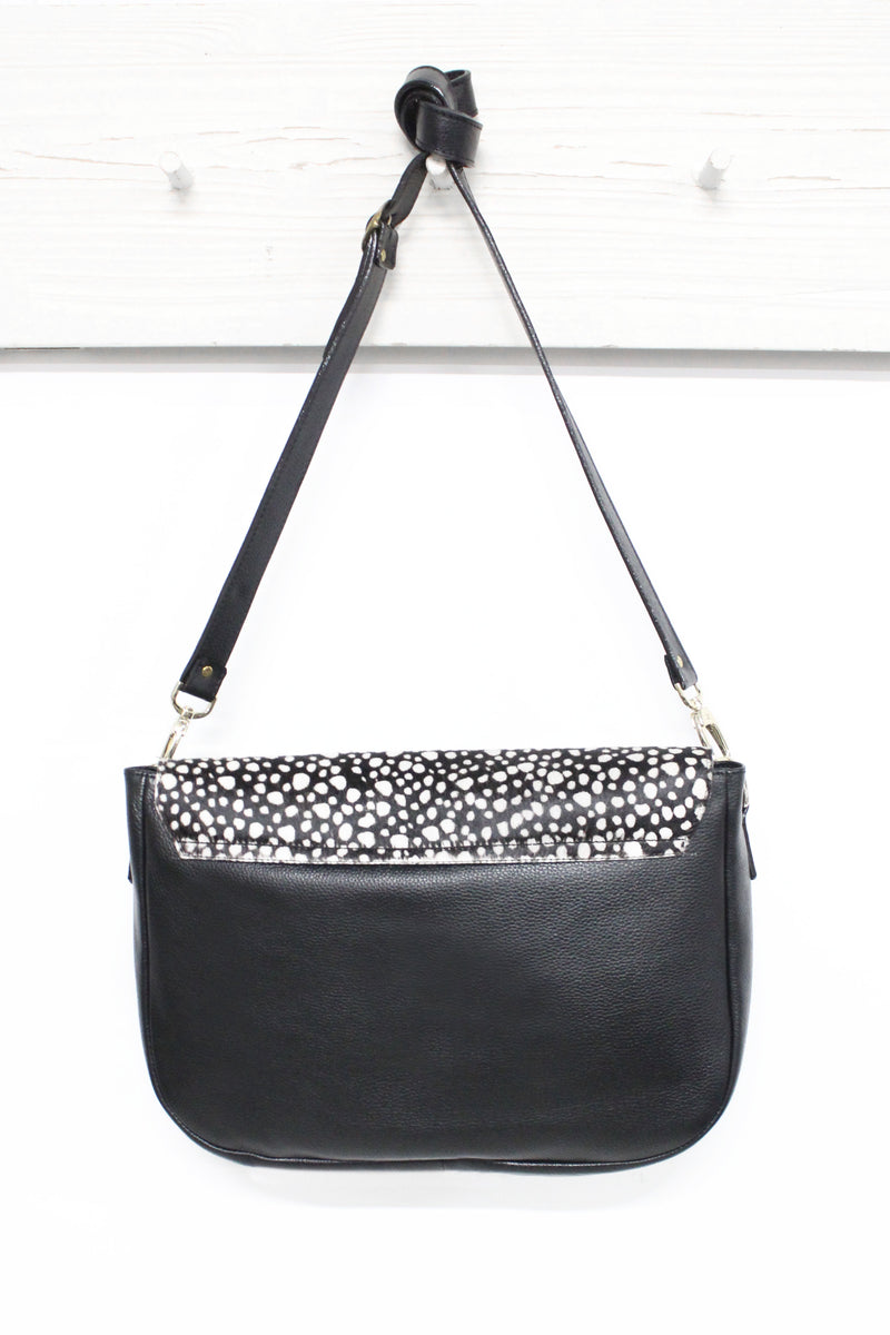 Mischa Leather Handbag Black with White Spots Cowhide
