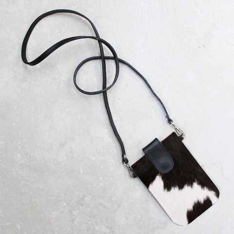 Mobile Phone Holder in Black and White Calfhair