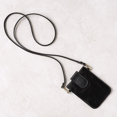 Mobile Phone Holder in All Black Calfhair