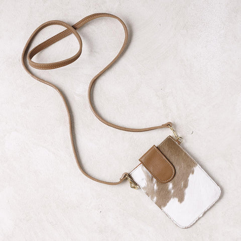 Mobile Phone Holder in Tan Cowhide