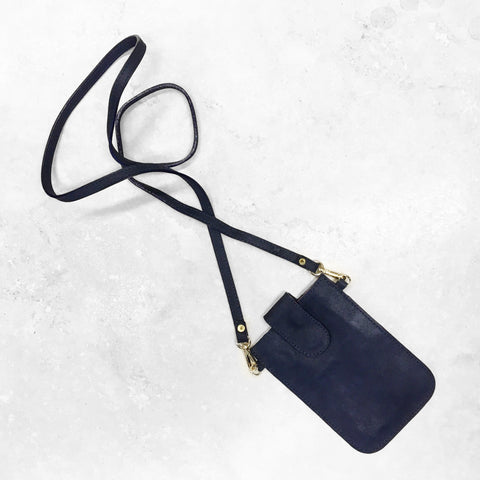 Mobile Phone Holder in Metallic Navy