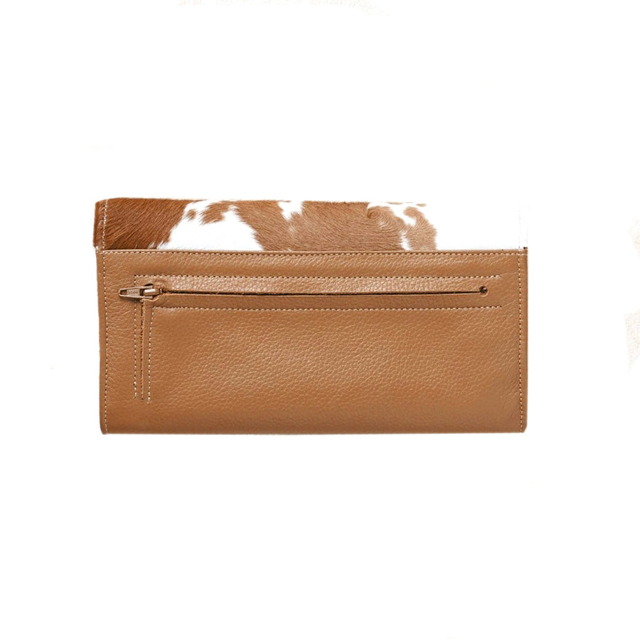 XL Foldover Wallet Tan and White Cowhide