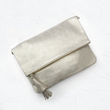Oversized Clutch Light Gold Metallic