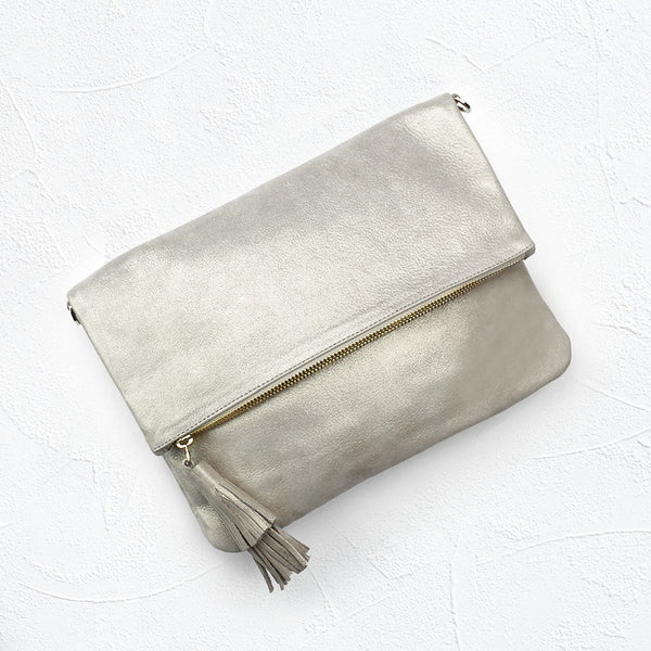 Oversized Clutch in Light Gold