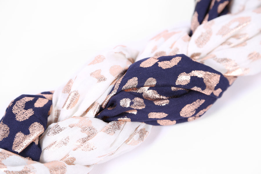 Animal Print Scarf Navy and Rose Gold